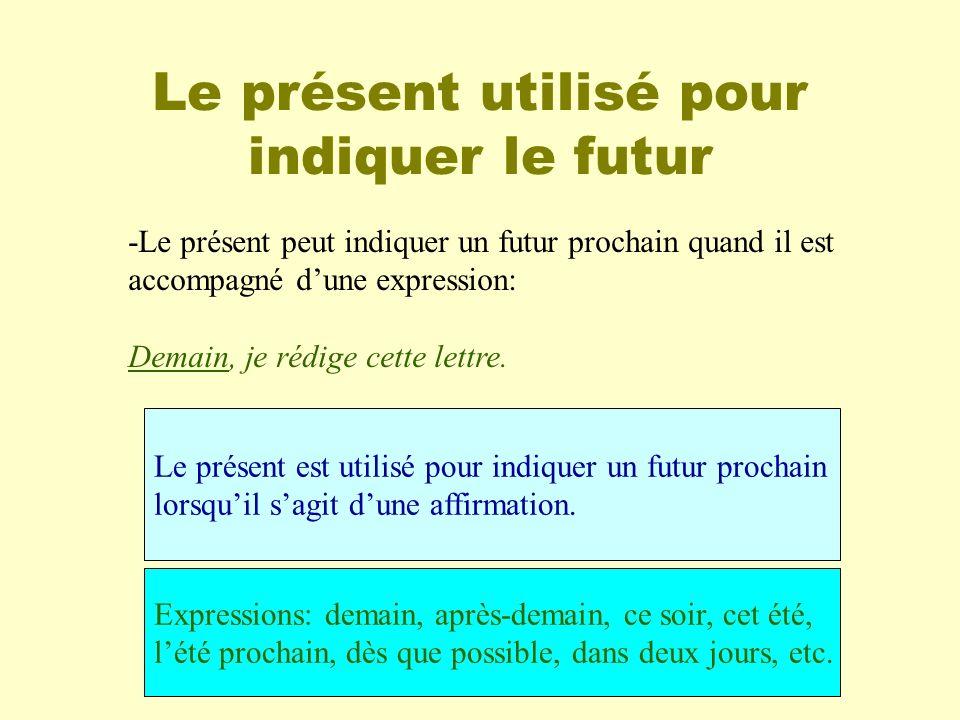 Le présent utilisé pour indiquer le futur -Le présent peut indiquer un futur prochain quand il est accompagné dune expression: Demain, je rédige cette