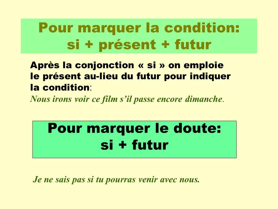 Pour marquer la condition: si + présent + futur Après la conjonction « si » on emploie le présent au-lieu du futur pour indiquer la condition : Nous i