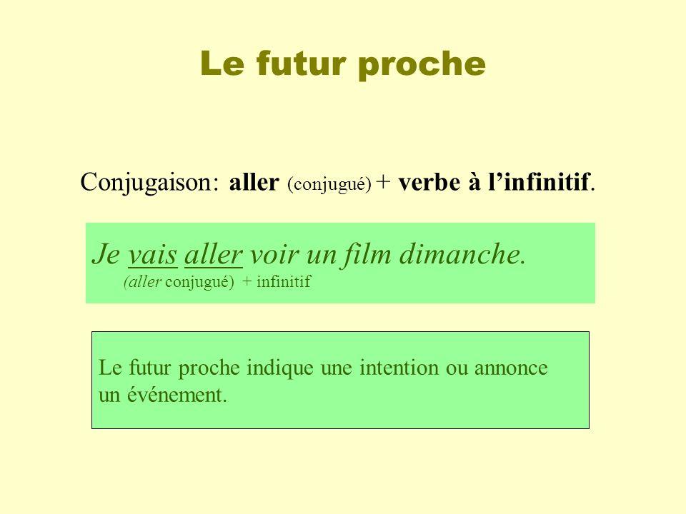 Le futur proche Conjugaison: aller (conjugué) + verbe à linfinitif. Je vais aller voir un film dimanche. (aller conjugué) + infinitif Le futur proche