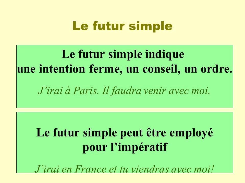 Le futur simple Le futur simple indique une intention ferme, un conseil, un ordre. Jirai à Paris. Il faudra venir avec moi. Le futur simple peut être