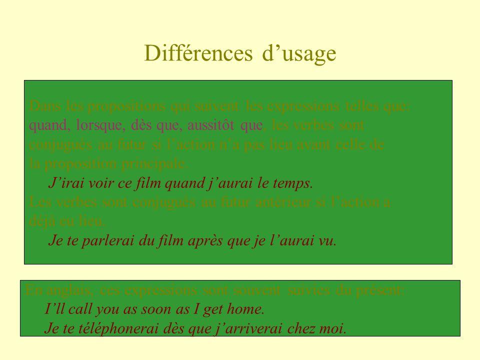 Différences dusage Dans les propositions qui suivent les expressions telles que: quand, lorsque, dès que, aussitôt que, les verbes sont conjugués au f