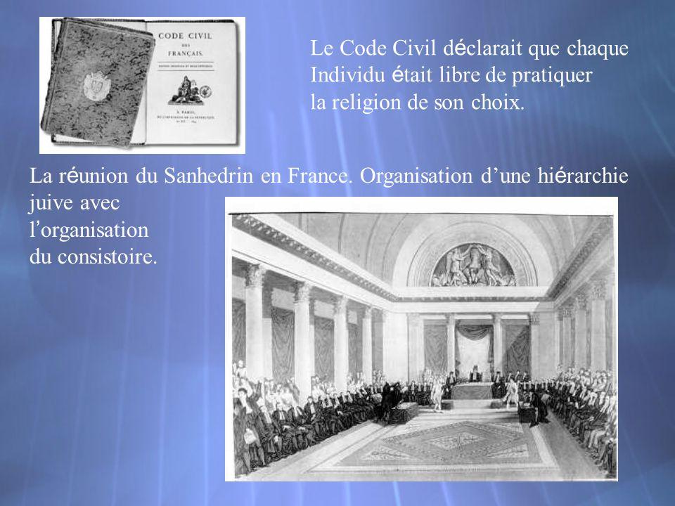 Le Code Civil d é clarait que chaque Individu é tait libre de pratiquer la religion de son choix. La r é union du Sanhedrin en France. Organisation du