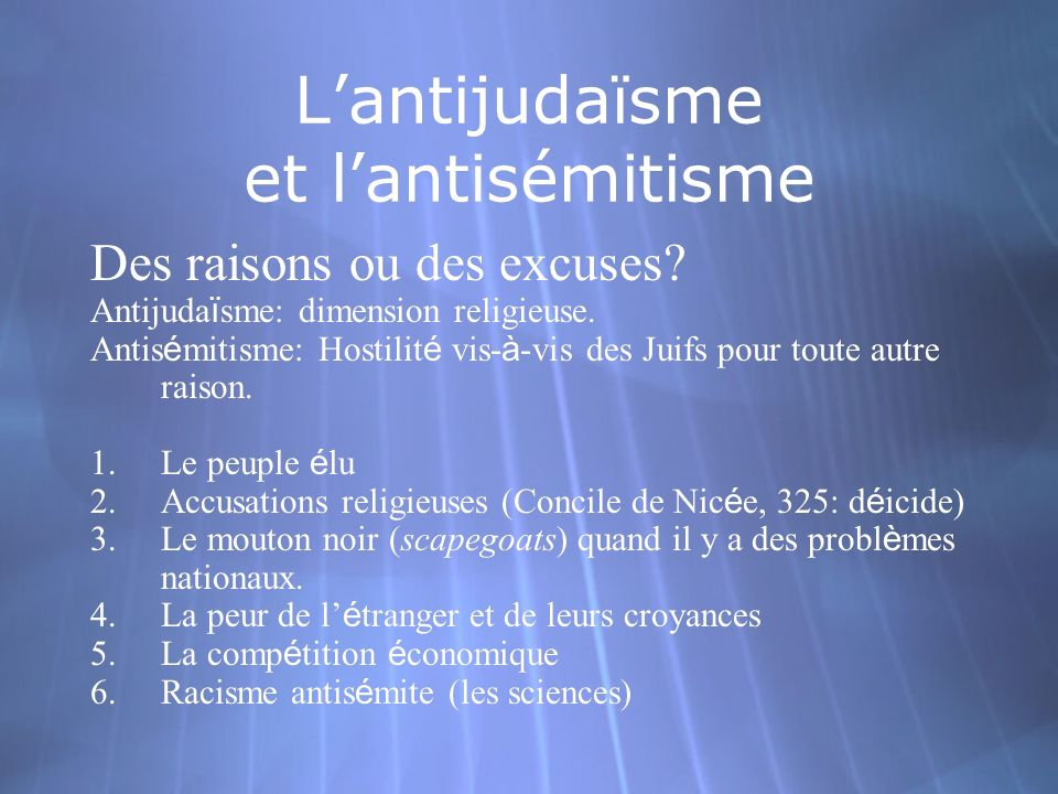 Lantijudaïsme et lantisémitisme Des raisons ou des excuses? Antijuda ï sme: dimension religieuse. Antis é mitisme: Hostilit é vis- à -vis des Juifs po