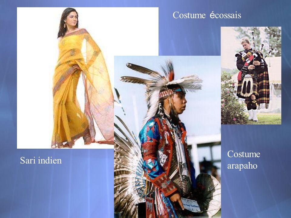 Costume é cossais Sari indien Costume arapaho
