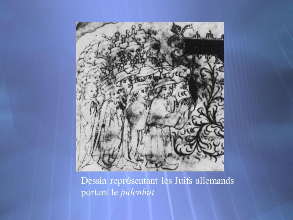 Dessin repr é sentant les Juifs allemands portant le judenhut
