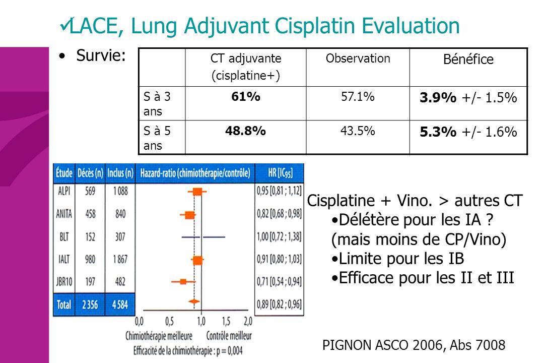 Survie: CT adjuvante (cisplatine+) Observation Bénéfice S à 3 ans 61%57.1% 3.9% +/- 1.5% S à 5 ans 48.8%43.5% 5.3% +/- 1.6% PIGNON ASCO 2006, Abs 7008