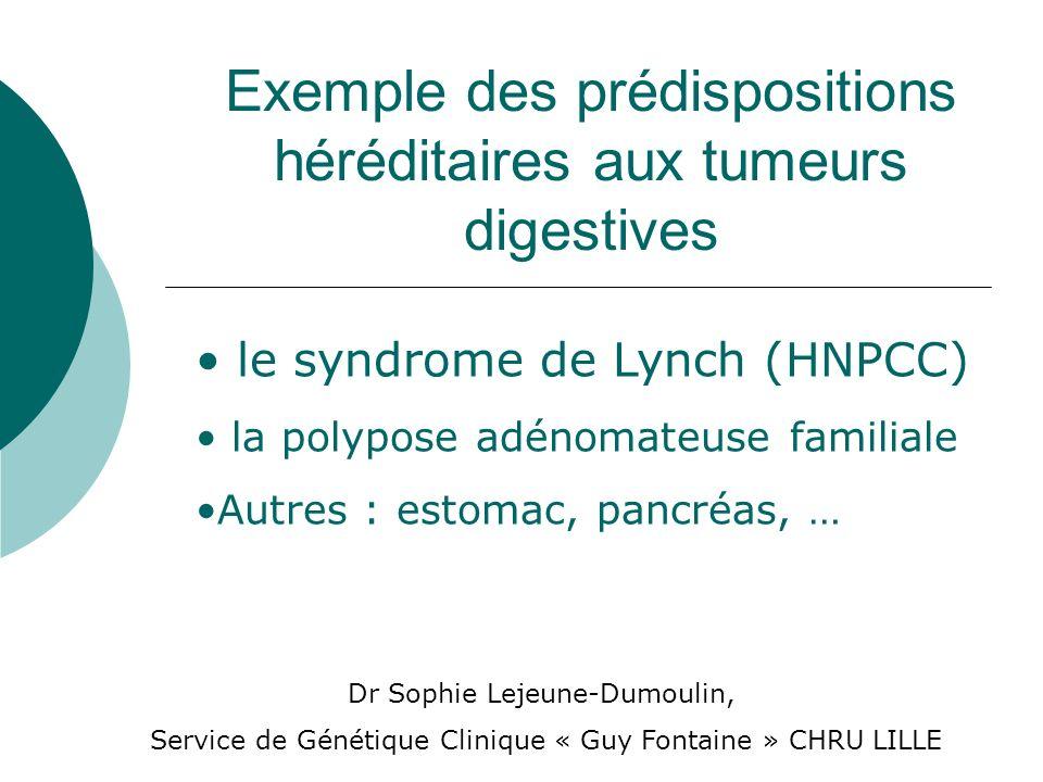 Exemple des prédispositions héréditaires aux tumeurs digestives le syndrome de Lynch (HNPCC) la polypose adénomateuse familiale Autres : estomac, panc