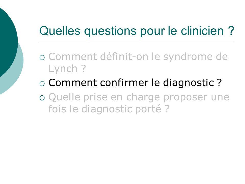 Quelles questions pour le clinicien ? Comment définit-on le syndrome de Lynch ? Comment confirmer le diagnostic ? Quelle prise en charge proposer une