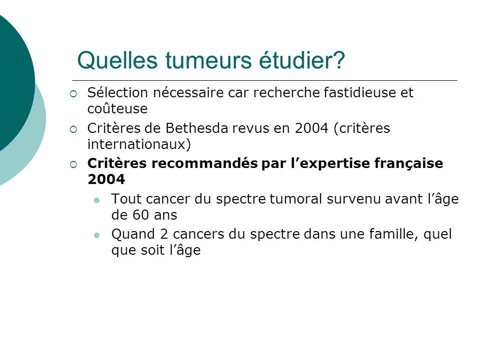 Quelles tumeurs étudier? Sélection nécessaire car recherche fastidieuse et coûteuse Critères de Bethesda revus en 2004 (critères internationaux) Critè