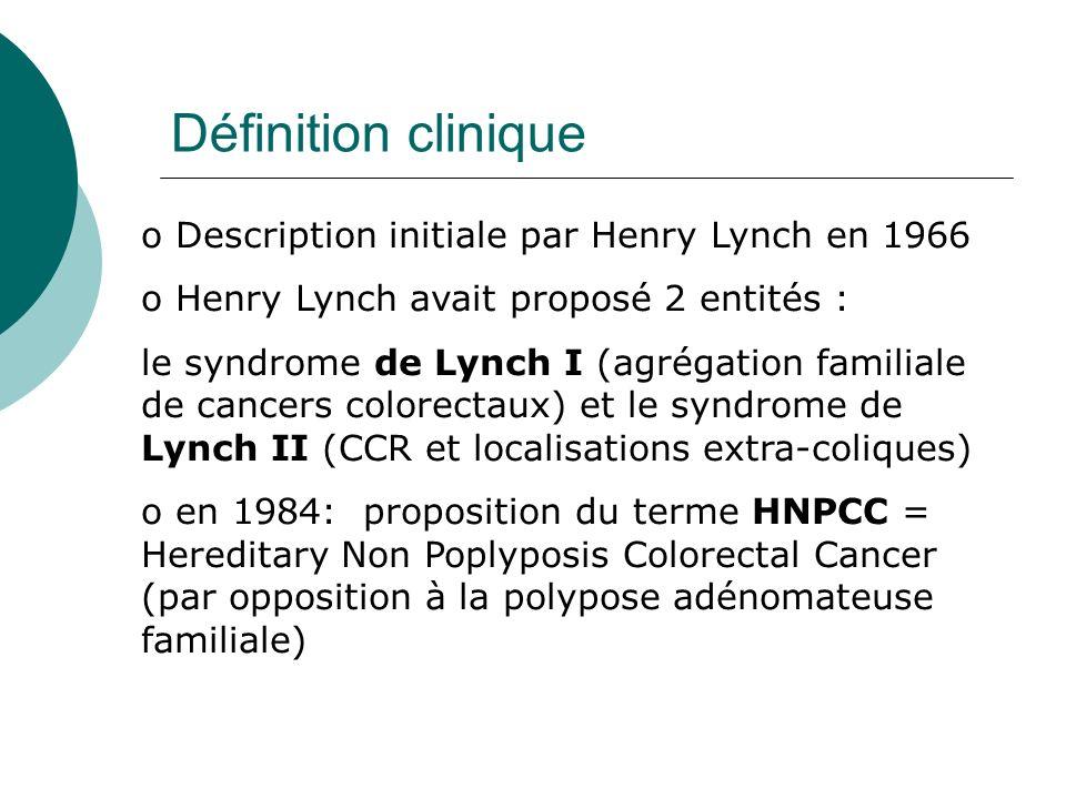Définition clinique o Description initiale par Henry Lynch en 1966 o Henry Lynch avait proposé 2 entités : le syndrome de Lynch I (agrégation familial