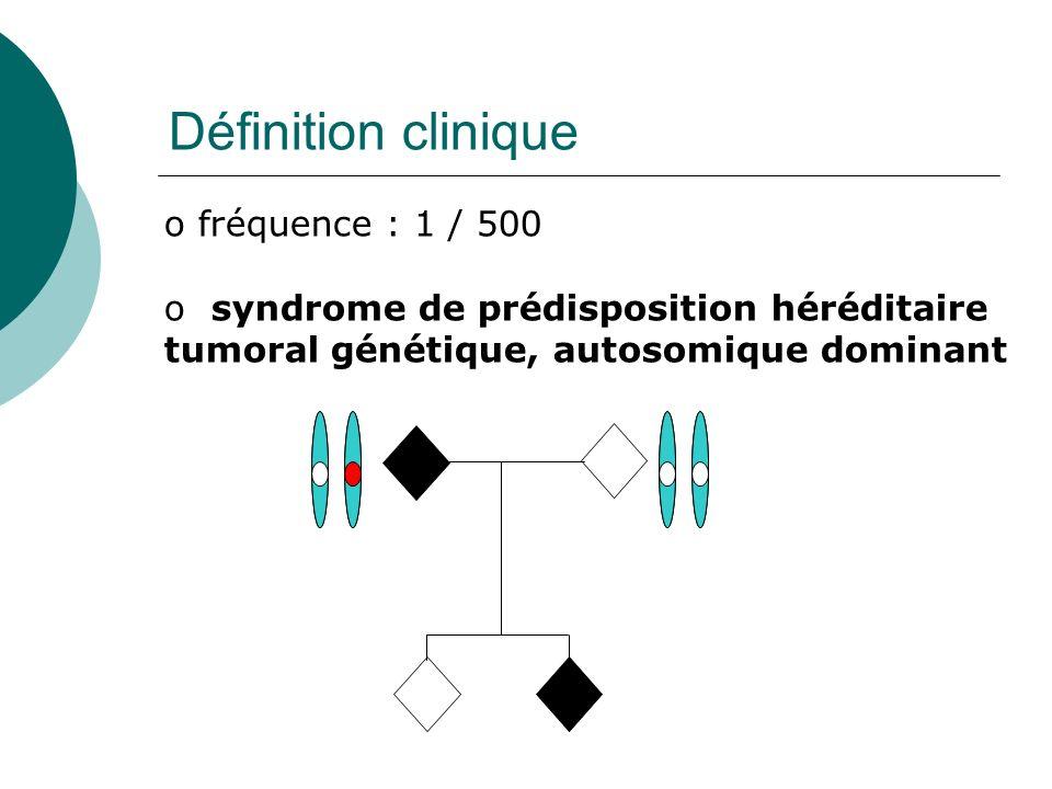 Définition clinique o fréquence : 1 / 500 o syndrome de prédisposition héréditaire tumoral génétique, autosomique dominant