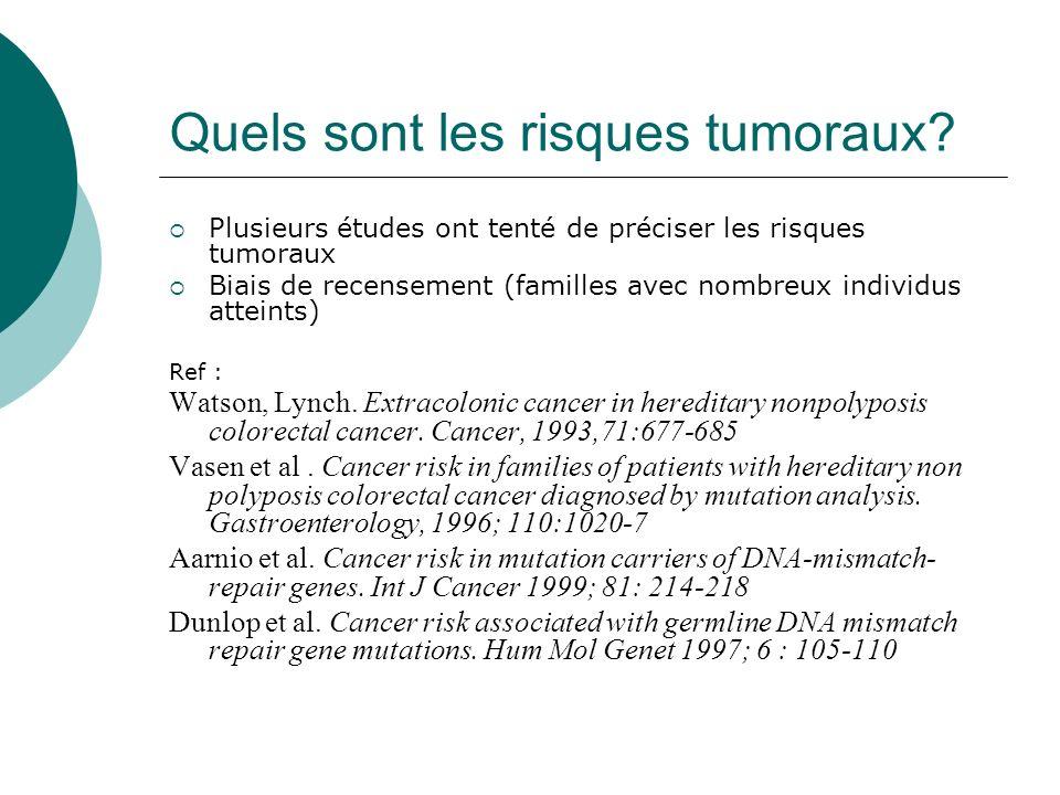 Quels sont les risques tumoraux? Plusieurs études ont tenté de préciser les risques tumoraux Biais de recensement (familles avec nombreux individus at