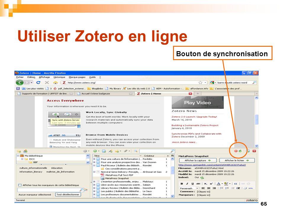 65 Utiliser Zotero en ligne Bouton de synchronisation