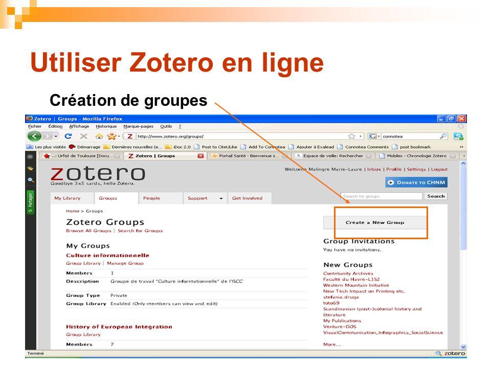 68 Utiliser Zotero en ligne Création de groupes