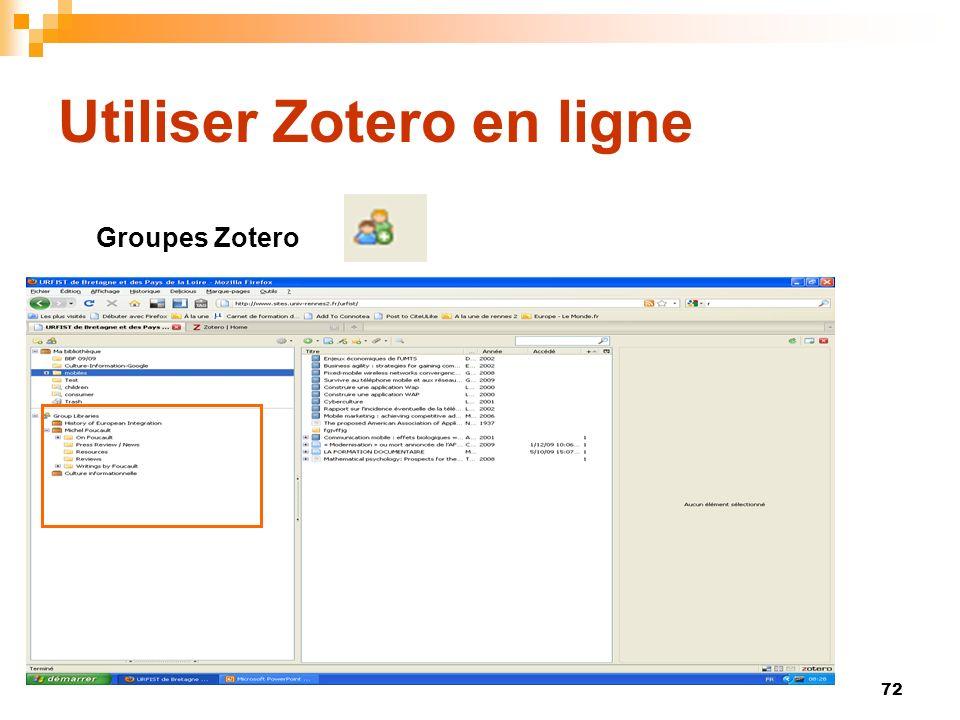 72 Utiliser Zotero en ligne Groupes Zotero