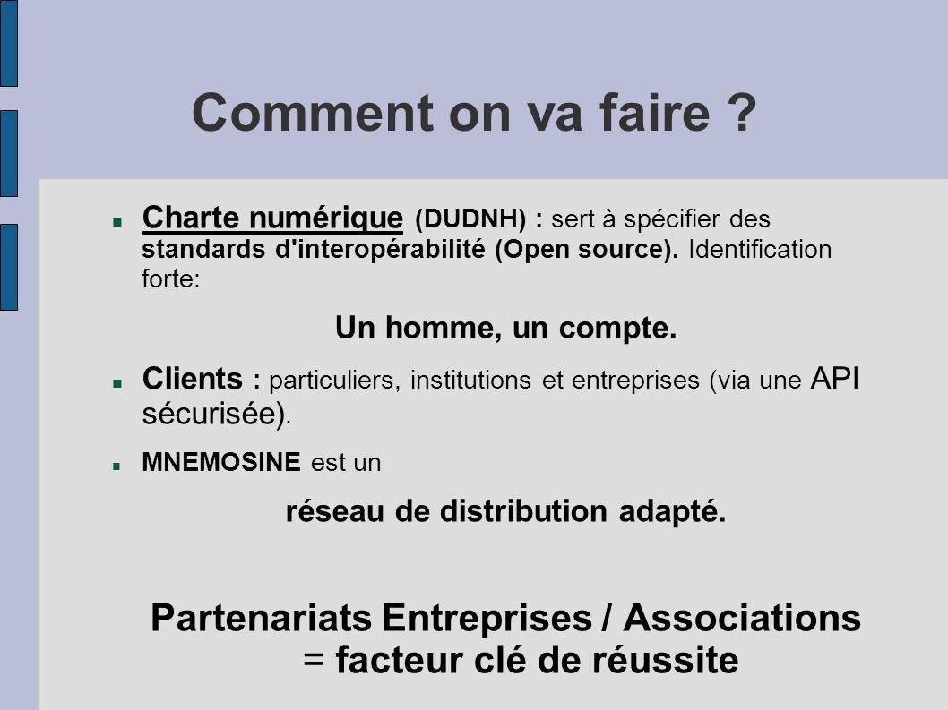 Comment on va faire ? Charte numérique (DUDNH) : sert à spécifier des standards d'interopérabilité (Open source). Identification forte: Un homme, un c