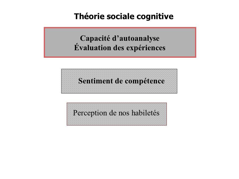 Théorie sociale cognitive Capacité dautoanalyse Évaluation des expériences Sentiment de compétence Perception de nos habiletés