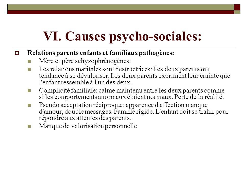VI. Causes psycho-sociales: Relations parents enfants et familiaux pathogènes: Mère et père schyzophrénogènes: Les relations maritales sont destructri