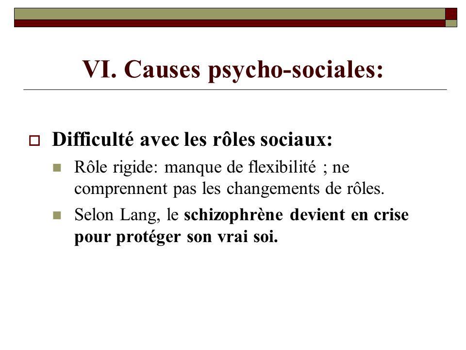 VI. Causes psycho-sociales: Difficulté avec les rôles sociaux: Rôle rigide: manque de flexibilité ; ne comprennent pas les changements de rôles. Selon