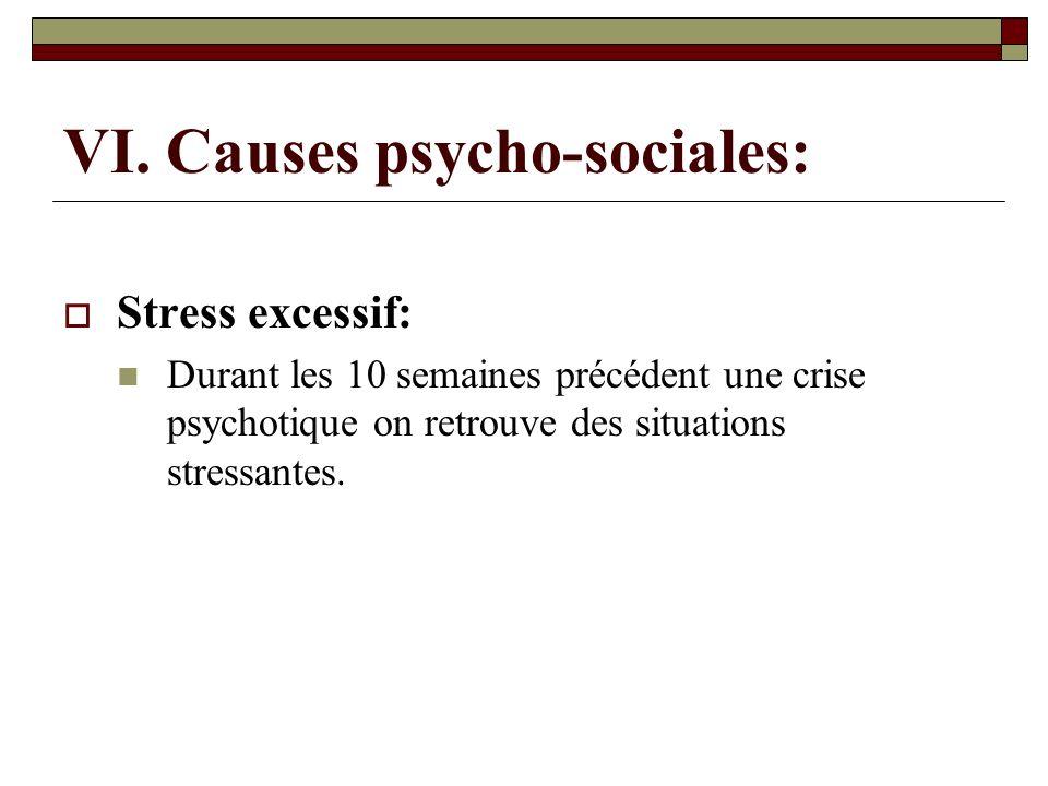 VI. Causes psycho-sociales: Stress excessif: Durant les 10 semaines précédent une crise psychotique on retrouve des situations stressantes.