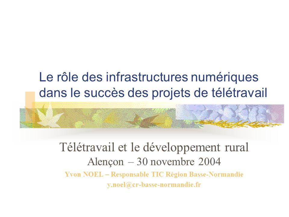 Le rôle des infrastructures numériques dans le succès des projets de télétravail Télétravail et le développement rural Alençon – 30 novembre 2004 Yvon NOEL – Responsable TIC Région Basse-Normandie y.noel@cr-basse-normandie.fr