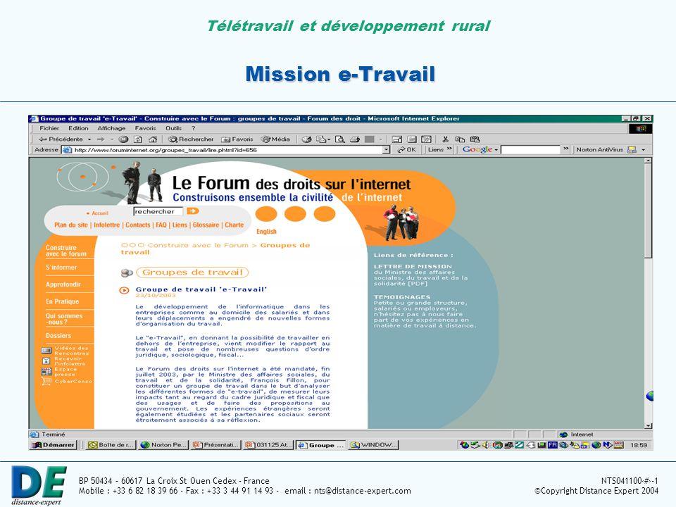 Télétravail et développement rural BP 50434 – 60617 La Croix St Ouen Cedex - France Mobile : +33 6 82 18 39 66 - Fax : +33 3 44 91 14 93 - email : nts@distance-expert.com NTS0411005-1 ©Copyright Distance Expert 2004 Intérêt des salariés pour le télétravail Source : www;sibis-eu.org