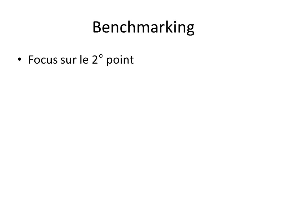 Benchmarking Focus sur le 2° point