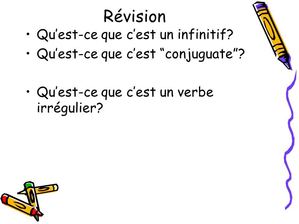 Révision Quest-ce que cest un infinitif? Quest-ce que cest conjuguate? Quest-ce que cest un verbe irrégulier?
