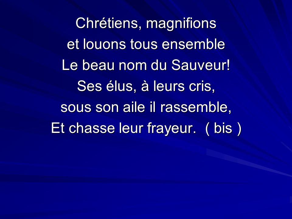 Chrétiens, magnifions et louons tous ensemble Le beau nom du Sauveur.