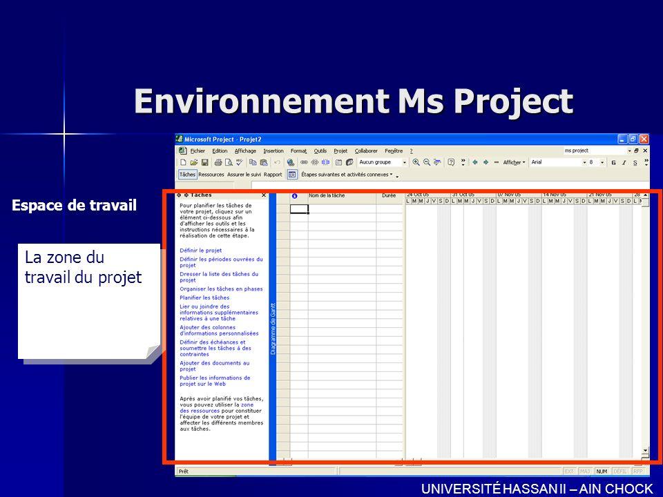 Environnement Ms Project Espace de travail UNIVERSITÉ HASSAN II – AIN CHOCK La zone du travail du projet