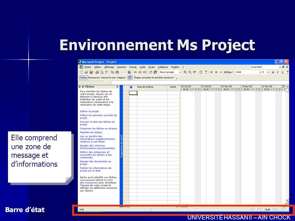 Environnement Ms Project Barre détat UNIVERSITÉ HASSAN II – AIN CHOCK Elle comprend une zone de message et dinformations