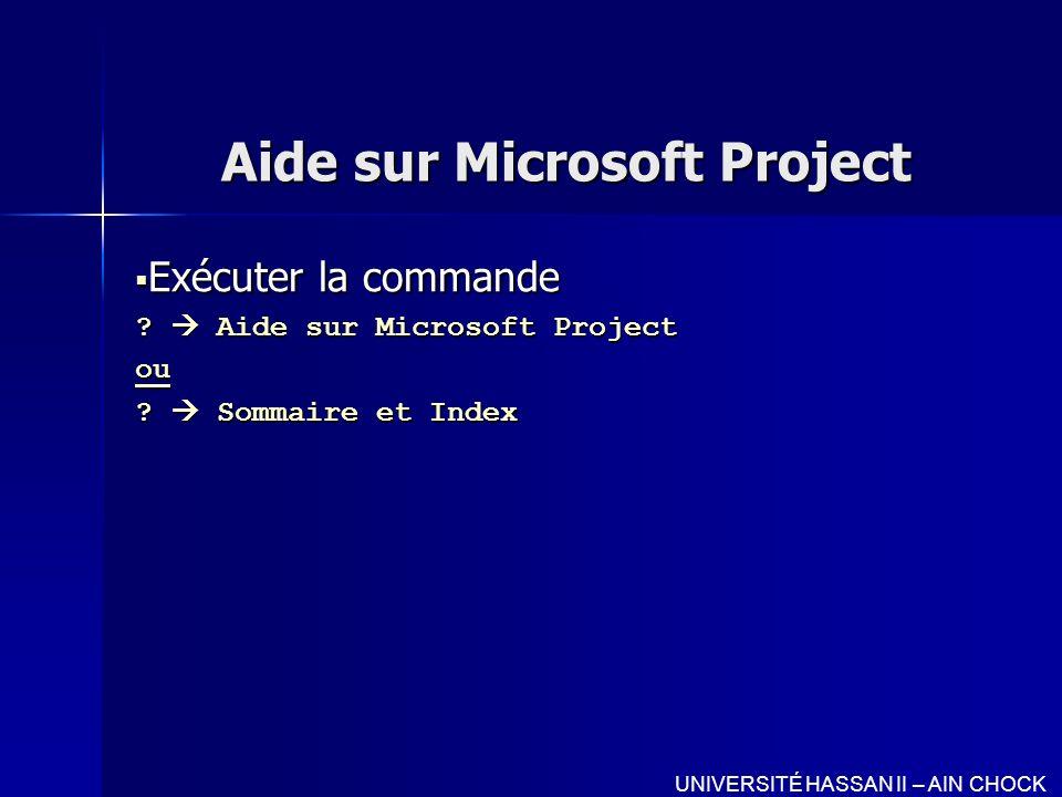 Aide sur Microsoft Project Exécuter la commande Exécuter la commande ? Aide sur Microsoft Project ou ? Sommaire et Index UNIVERSITÉ HASSAN II – AIN CH