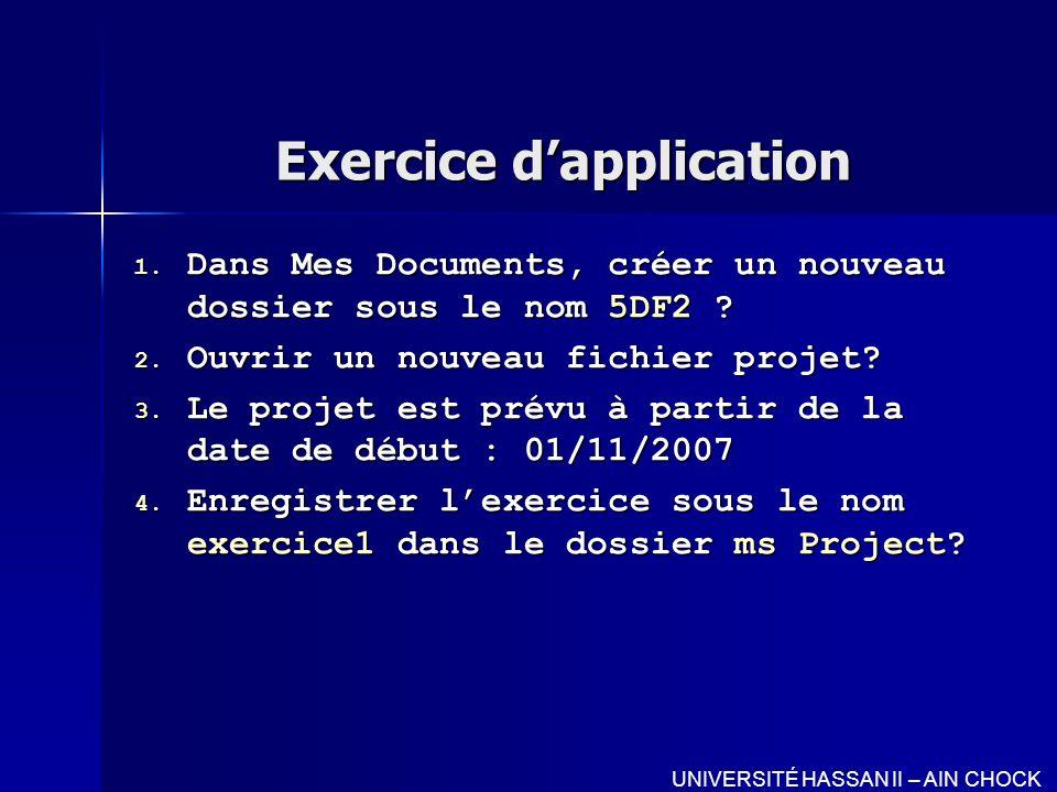 Exercice dapplication 1. Dans Mes Documents, créer un nouveau dossier sous le nom 5DF2 ? 2. Ouvrir un nouveau fichier projet? 3. Le projet est prévu à