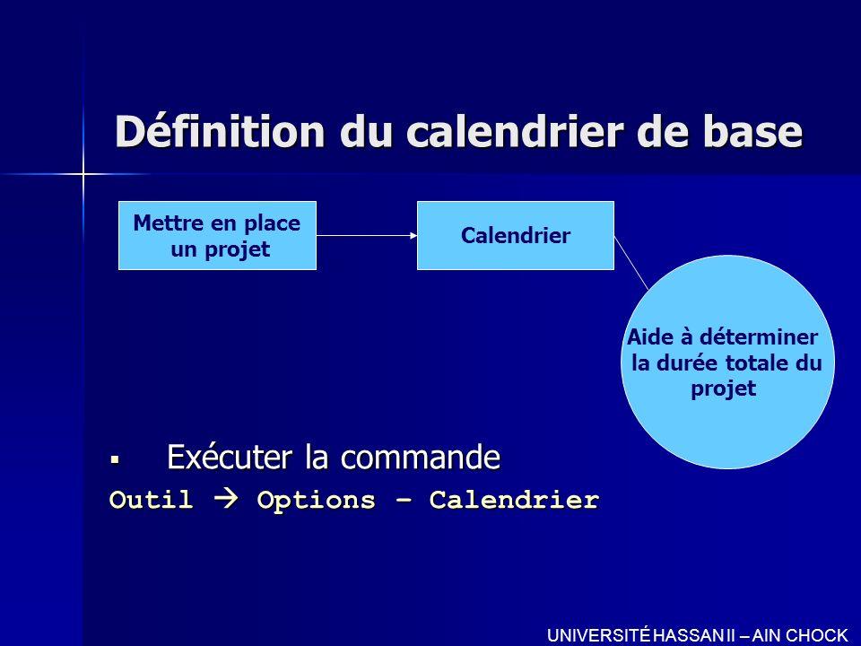 Définition du calendrier de base Exécuter la commande Exécuter la commande Outil Options – Calendrier Mettre en place un projet Calendrier Aide à déte