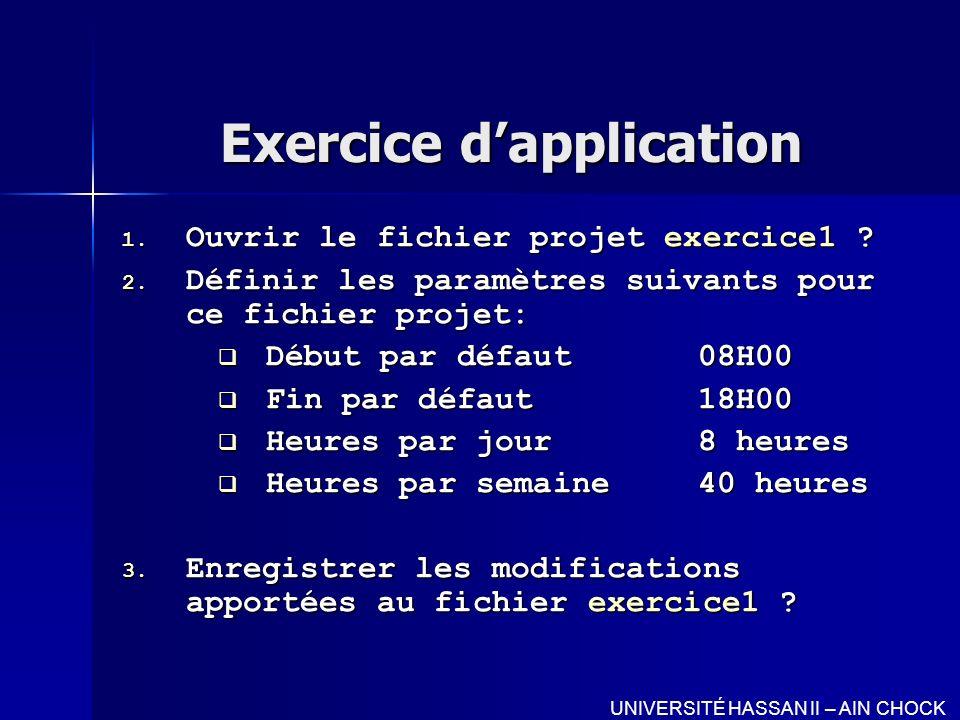 Exercice dapplication 1. Ouvrir le fichier projet exercice1 ? 2. Définir les paramètres suivants pour ce fichier projet: Début par défaut08H00 Début p