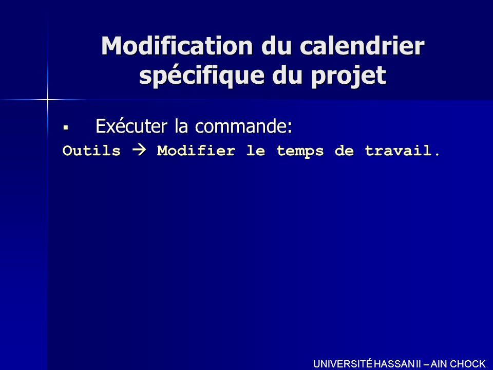 Modification du calendrier spécifique du projet Exécuter la commande: Exécuter la commande: Outils Modifier le temps de travail. UNIVERSITÉ HASSAN II