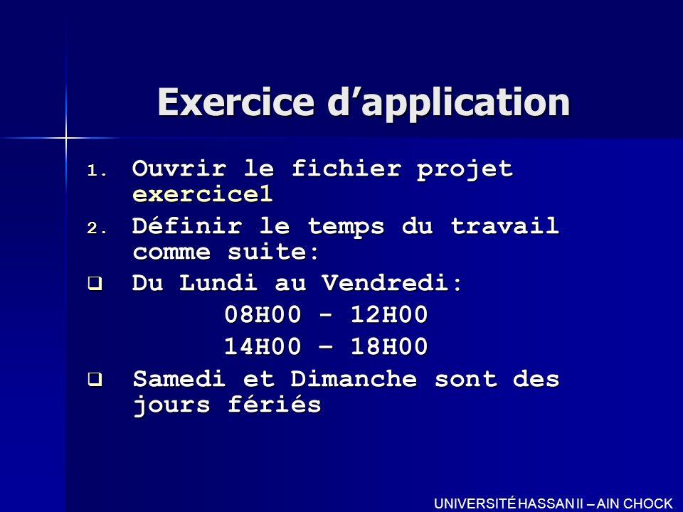Exercice dapplication 1. Ouvrir le fichier projet exercice1 2. Définir le temps du travail comme suite: Du Lundi au Vendredi: Du Lundi au Vendredi: 08