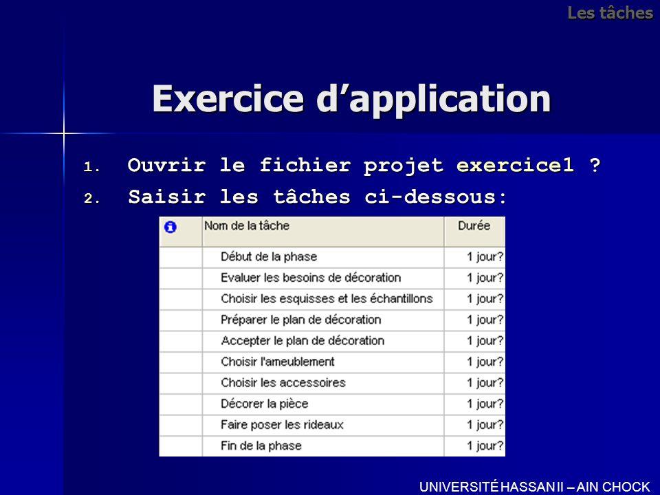 Exercice dapplication 1. Ouvrir le fichier projet exercice1 ? 2. Saisir les tâches ci-dessous: UNIVERSITÉ HASSAN II – AIN CHOCK Les tâches