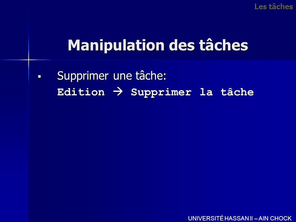 Manipulation des tâches Supprimer une tâche: Supprimer une tâche: Edition Supprimer la tâche UNIVERSITÉ HASSAN II – AIN CHOCK Les tâches