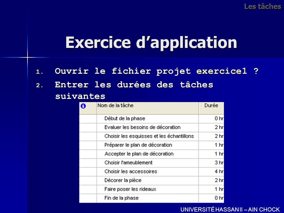Exercice dapplication 1. Ouvrir le fichier projet exercice1 ? 2. Entrer les durées des tâches suivantes UNIVERSITÉ HASSAN II – AIN CHOCK Les tâches