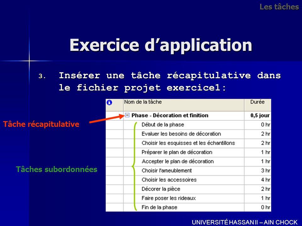 Exercice dapplication 3. Insérer une tâche récapitulative dans le fichier projet exercice1: UNIVERSITÉ HASSAN II – AIN CHOCK Tâche récapitulative Tâch