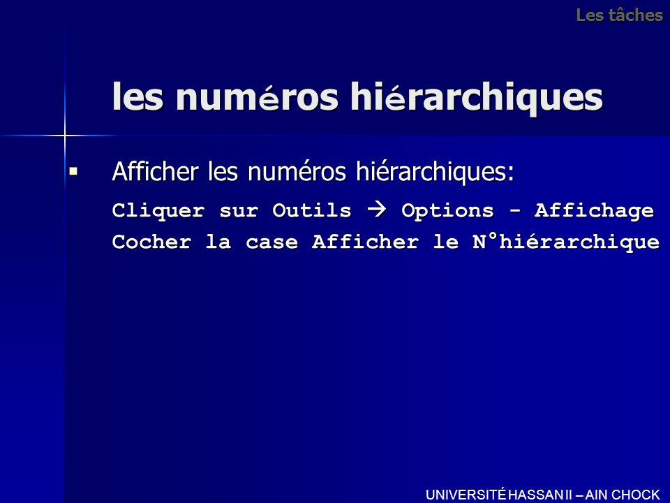 les num é ros hi é rarchiques Afficher les numéros hiérarchiques: Afficher les numéros hiérarchiques: Cliquer sur Outils Options - Affichage Cliquer s