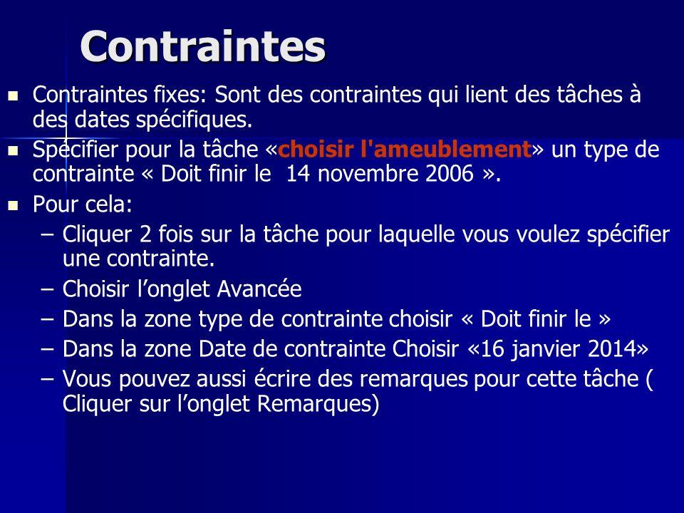 Contraintes Contraintes fixes: Sont des contraintes qui lient des tâches à des dates spécifiques. Spécifier pour la tâche «choisir l'ameublement» un t