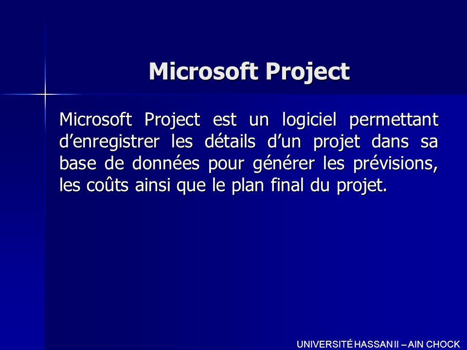 Microsoft Project Microsoft Project est un logiciel permettant denregistrer les détails dun projet dans sa base de données pour générer les prévisions