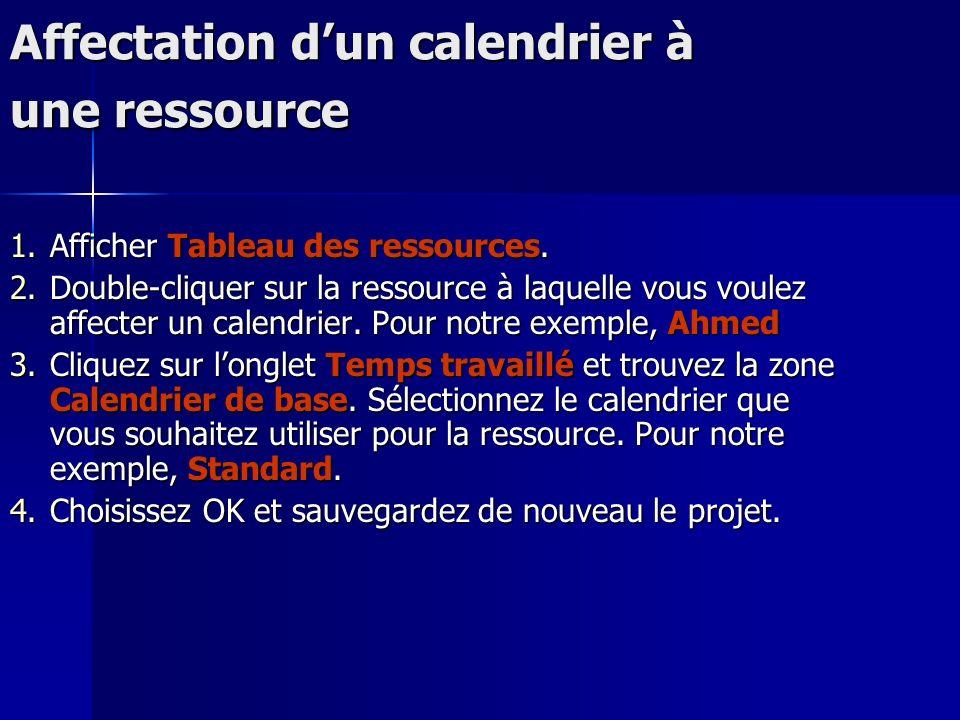 Affectation dun calendrier à une ressource 1.Afficher Tableau des ressources. 2.Double-cliquer sur la ressource à laquelle vous voulez affecter un cal