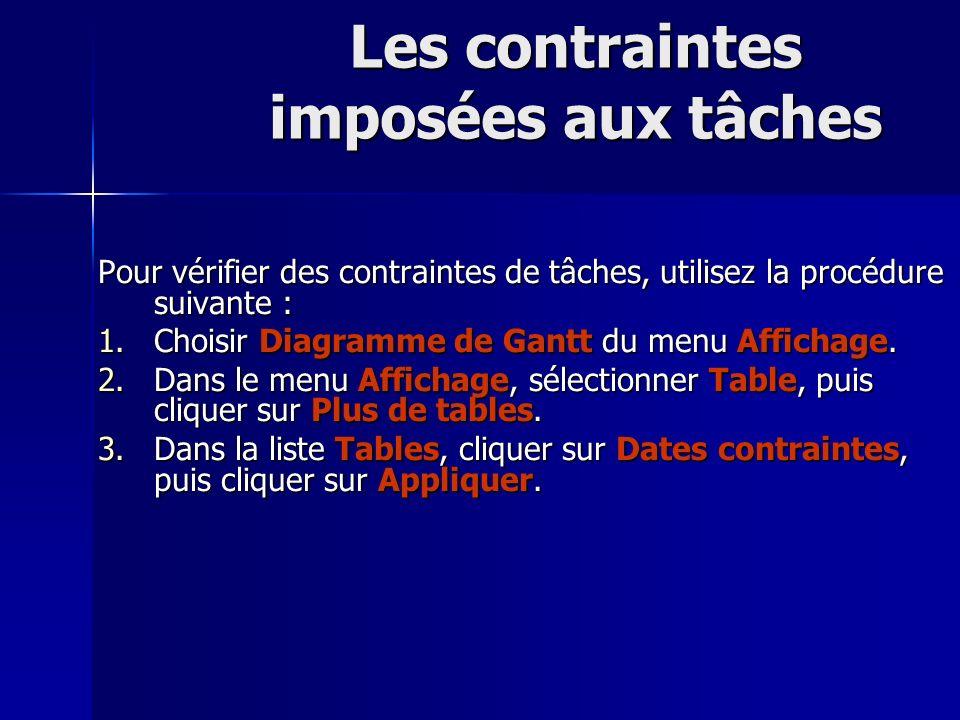 Les contraintes imposées aux tâches Pour vérifier des contraintes de tâches, utilisez la procédure suivante : 1.Choisir Diagramme de Gantt du menu Aff