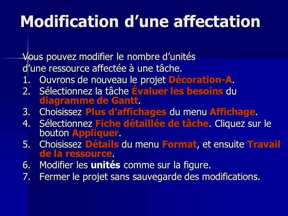 Modification dune affectation Vous pouvez modifier le nombre dunités dune ressource affectée à une tâche. 1.Ouvrons de nouveau le projet Décoration-A.