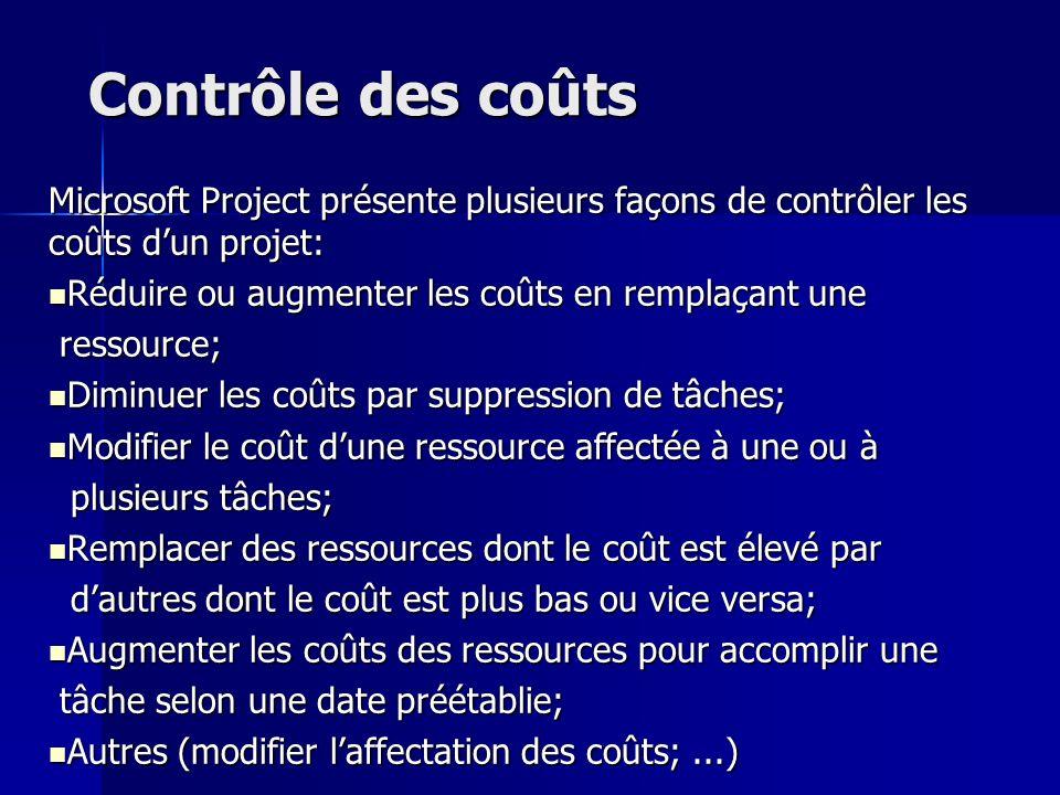 Contrôle des coûts Microsoft Project présente plusieurs façons de contrôler les coûts dun projet: Réduire ou augmenter les coûts en remplaçant une Réd