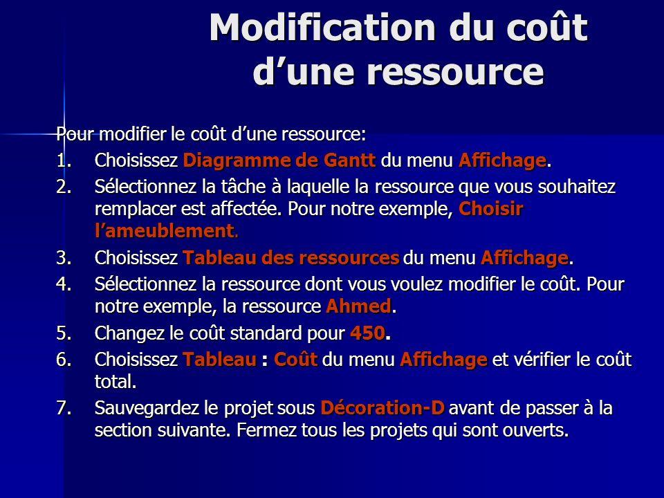 Modification du coût dune ressource Pour modifier le coût dune ressource: 1.Choisissez Diagramme de Gantt du menu Affichage. 2.Sélectionnez la tâche à