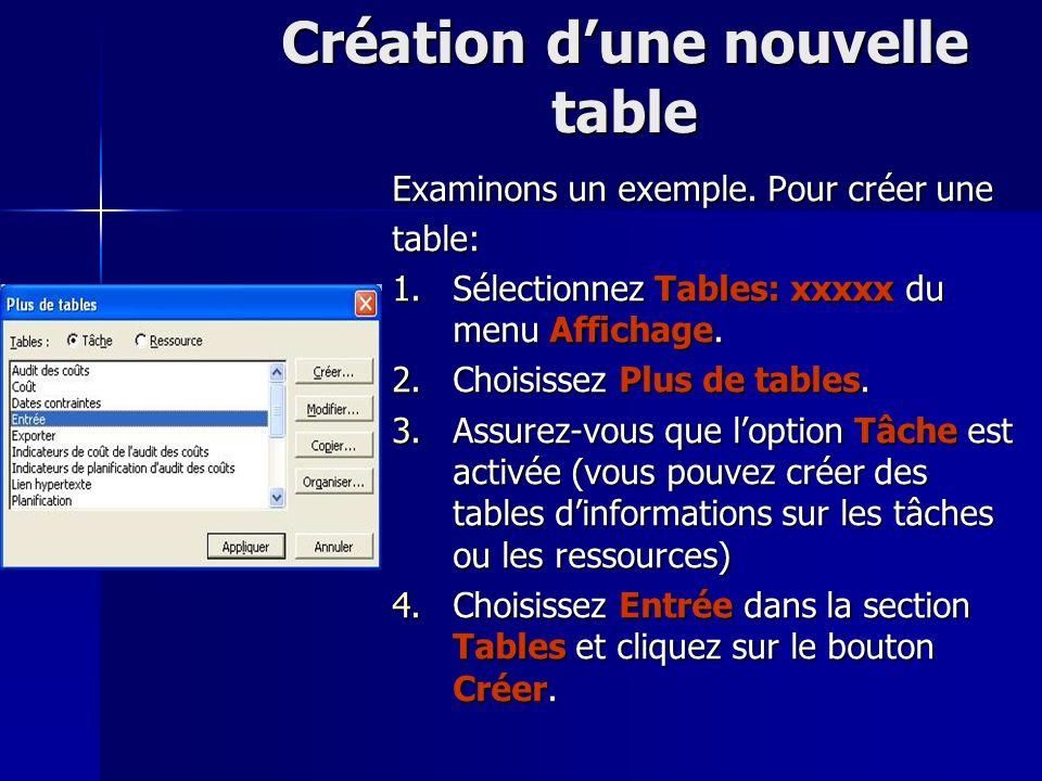 Création dune nouvelle table Examinons un exemple. Pour créer une table: 1.Sélectionnez Tables: xxxxx du menu Affichage. 2.Choisissez Plus de tables.
